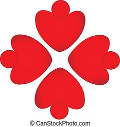 Teamwork red hearts logo