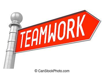 Teamwork - red signpost