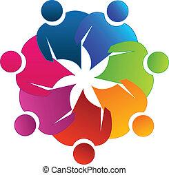 Teamwork reunion logo - Teamwork reunion concept vector icon