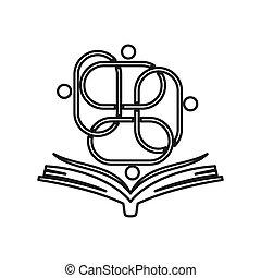 teamwork, samen, opleiding, verplichting, boek, schets, logo