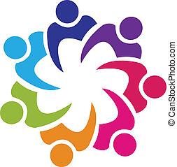 teamwork, sammenslutning, folk, logo, vektor