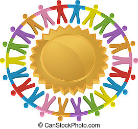 teamwork, schild, pictogram