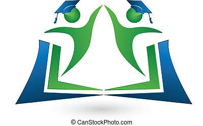 teamwork, scholieren, met, boek, logo