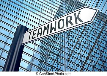 Teamwork signpost