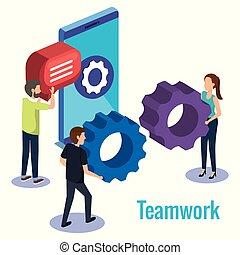 teamwork, smartphone, groep, mensen