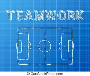 Soccer pitch blackboard  Soccer football pitch diagram on blackboard