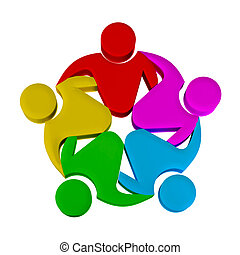 Teamwork concept of community, workers, unity, social networking, hug and friendship icon 3D image logotype template