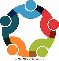 teamwork, social, nätverk, grupp, av, 5 folk,...