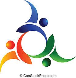 teamwork, sociale, folk, logo