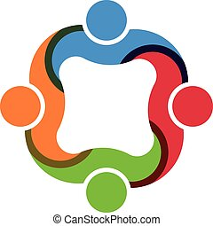 teamwork, sociale, gruppe, 4 folk