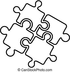 Teamwork solution puzzle icon, outline style