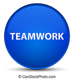 Teamwork special blue round button