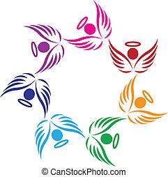 teamwork, stöd, änglar, logo