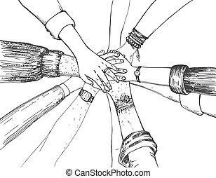 Teamwork stacking joining group
