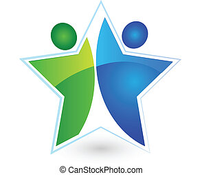 Teamwork star people logo vector