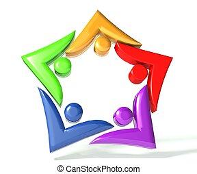 Teamwork star swooshes logo 3D - Teamwork colorful swooshes...