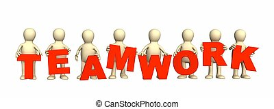 Teamwork - Eight puppets with red letters in hands. Object...