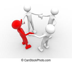 Teamwork - 3d people - men, person in circle. Teamwork