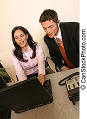 Teamwork - A brunette giving a great smile while on the...