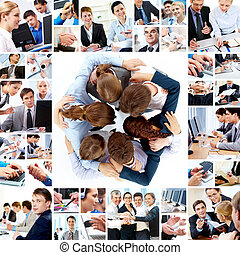 Teamwork - Collage of business teams working together,...