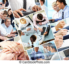 Teamwork - Collage of different image with business people...