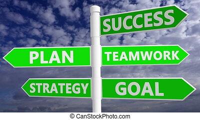 teamwork, strategia, gol, biały, powodzenie, plan, pojęcie, ...