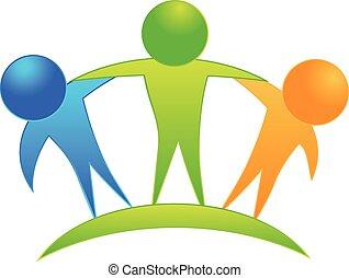 Teamwork success and happy logo