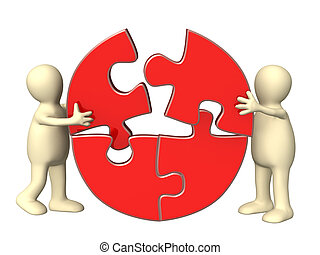 Teamwork - Success of teamwork. Two puppets wiht puzzles