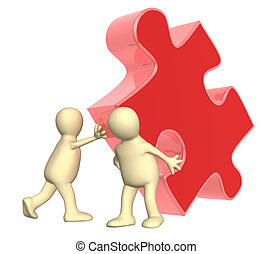 Teamwork - Success of teamwork. Two puppets with puzzle....