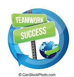 teamwork success street sign