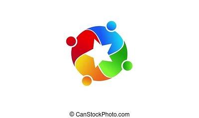 Teamwork successful people, creative star, video animation
