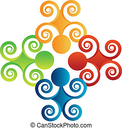 Teamwork swirl people logo