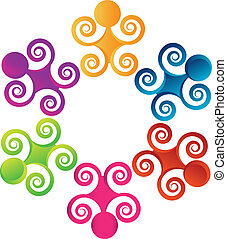 Teamwork swirly people logo