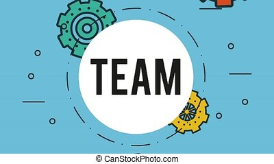 Teamwork symbol over gears falling background HD animation -...