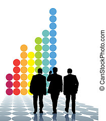 Teamwork - Team of businessmen and a large graph in the...