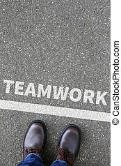 Teamwork team working together business concept