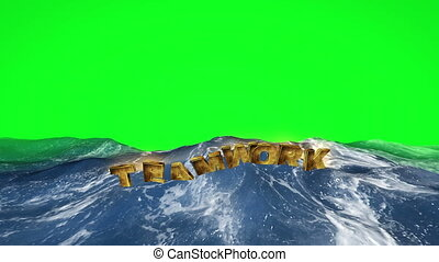 Teamwork text floating in the water against green screen