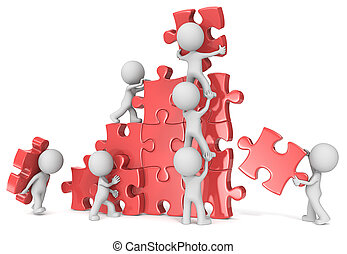 Teamwork. - The dude x 7 building large puzzle. Red.
