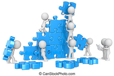 Teamwork. - The dude x 9 building large puzzle from...
