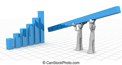 Teamwork to financial growth and success concept -...