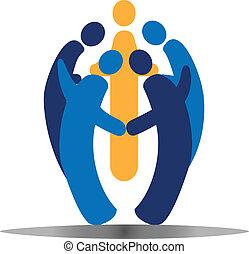 teamwork, towarzyski, ludzie, logo, wektor