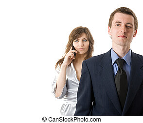 Teamwork. Two business people on white background
