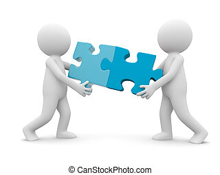 teamwork - Two cartoon characters carrying two puzzle