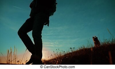 teamwork. Two hikers enjoying sunrise walking from top of a mountain and dog. slow motion video. Two hikers with backpacks climbing a peak on cloud sky background and dog. hikers adventure and lifestyle the dog go walking . travel victory is the way to success silhouette concept