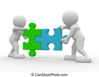 Teamwork - Two person matching puzzle pieces -This is a 3d...