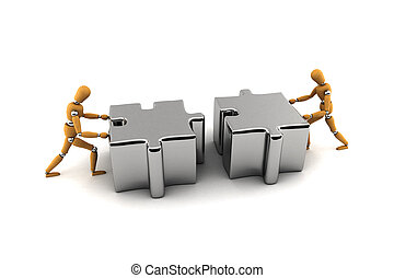 Teamwork - Two wooden mannequins pushing puzzle pieces...