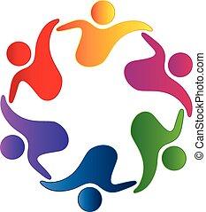 teamwork, uścisk, przyjaźń, logo