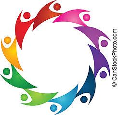 Teamwork union people logo - Vector of teamwork union people