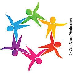 Teamwork union people logo
