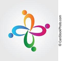 Teamwork union people logo - Teamwork union people icon...